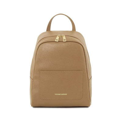 Saffiano Backpack Leather Backpack TUSCANY LEATHER Caramel