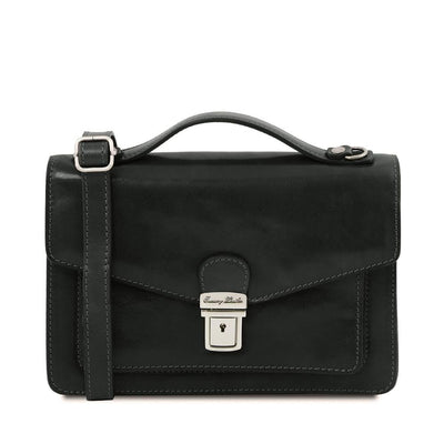 Eric Crossbody Leather Bag Leather Shoulder Bag TUSCANY LEATHER Black