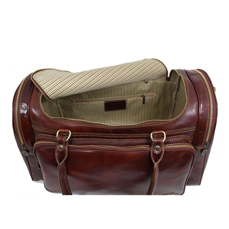 Praga Duffle Bag Leather Duffle Bag TUSCANY LEATHER Brown