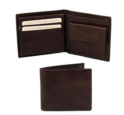 3 Fold Leather Wallet with coin pocket Leather Wallet TUSCANY LEATHER Dark Brown