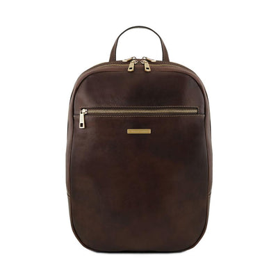 Osaka Leather Laptop Backpack Leather Backpack TUSCANY LEATHER Dark Brown