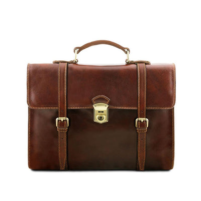 Viareggio Laptop Bag Leather Laptop Bag TUSCANY LEATHER Brown
