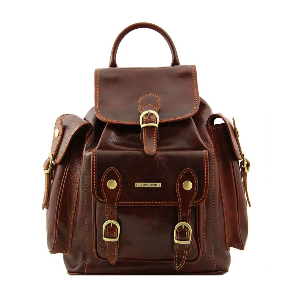 Pechino Leather Backpack Leather Backpack TUSCANY LEATHER Brown