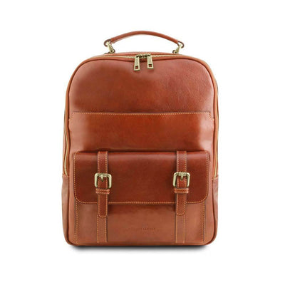 Nagoya Leather Laptop Backpack Leather Backpack TUSCANY LEATHER Honey
