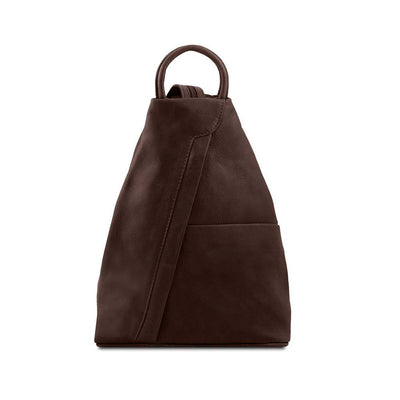 Shanghai Women's Leather Backpack Leather Backpack TUSCANY LEATHER Dark Brown