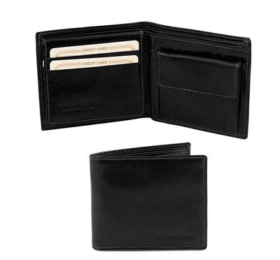 3 Fold Leather Wallet with coin pocket Leather Wallet TUSCANY LEATHER Black
