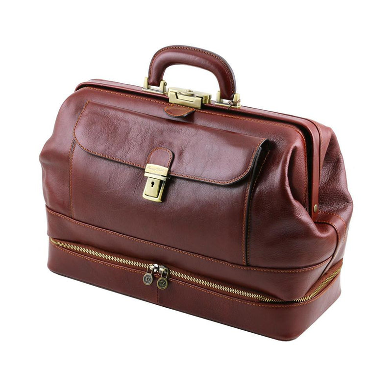 Giotto Leather Doctor Bag Leather Briefcase TUSCANY LEATHER Brown