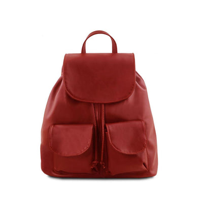 Seoul Leather Backpack Small/Large Leather Backpack TUSCANY LEATHER Small Red