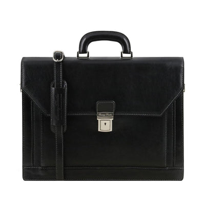 Roma Briefcase Leather Briefcase TUSCANY LEATHER Black