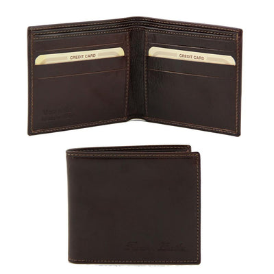 2 Fold Leather Wallet Leather wallet TUSCANY LEATHER Dark Brown