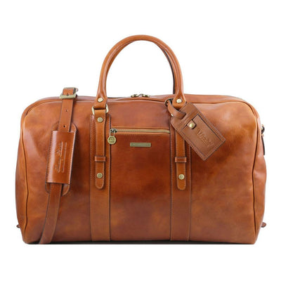 Voyager Leather Travel Bag Leather Duffle Bag TUSCANY LEATHER Honey