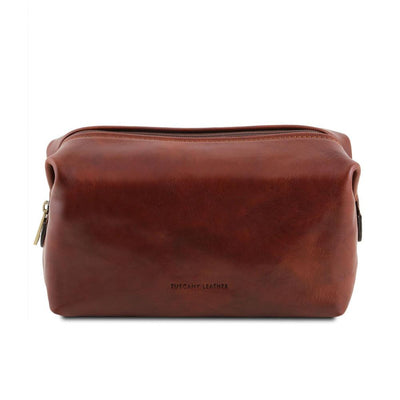 Smarty Leather Toiletry Bag - Large Leather Toiletry Bag TUSCANY LEATHER Brown
