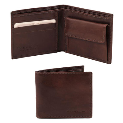 Exclusive 2 fold Leather Wallet Leather Wallet TUSCANY LEATHER Dark Brown