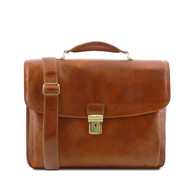 Allesandria Leather Briefcase Leather Laptop Bag TUSCANY LEATHER Honey