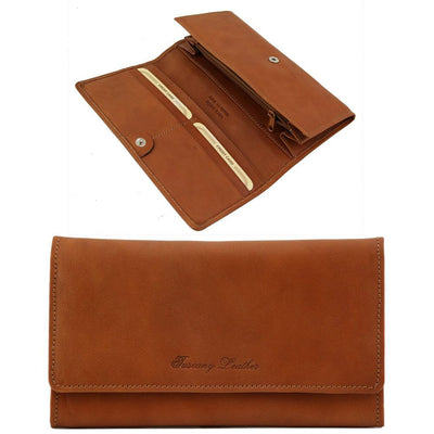 Women's Accordion Leather Wallet Leather Wallet TUSCANY LEATHER Honey