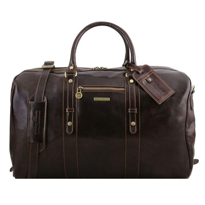 Voyager Leather Travel Bag Leather Duffle Bag TUSCANY LEATHER Dark Brown