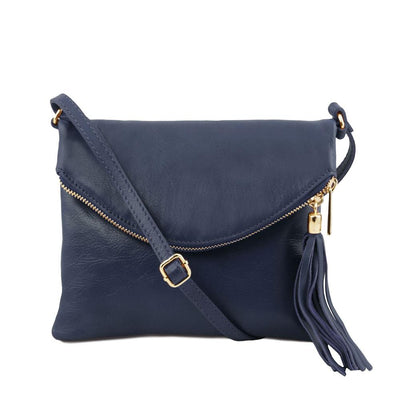 TL Young Leather Shoulder Bag Leather Handbag TUSCANY LEATHER Dark Blue