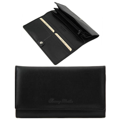 Women's Accordion Leather Wallet Leather Wallet TUSCANY LEATHER Black