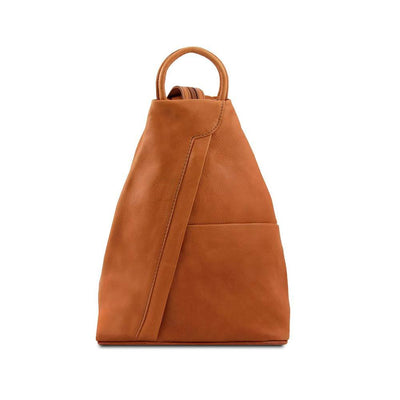 Shanghai Women's Leather Backpack Leather Backpack TUSCANY LEATHER Cognac