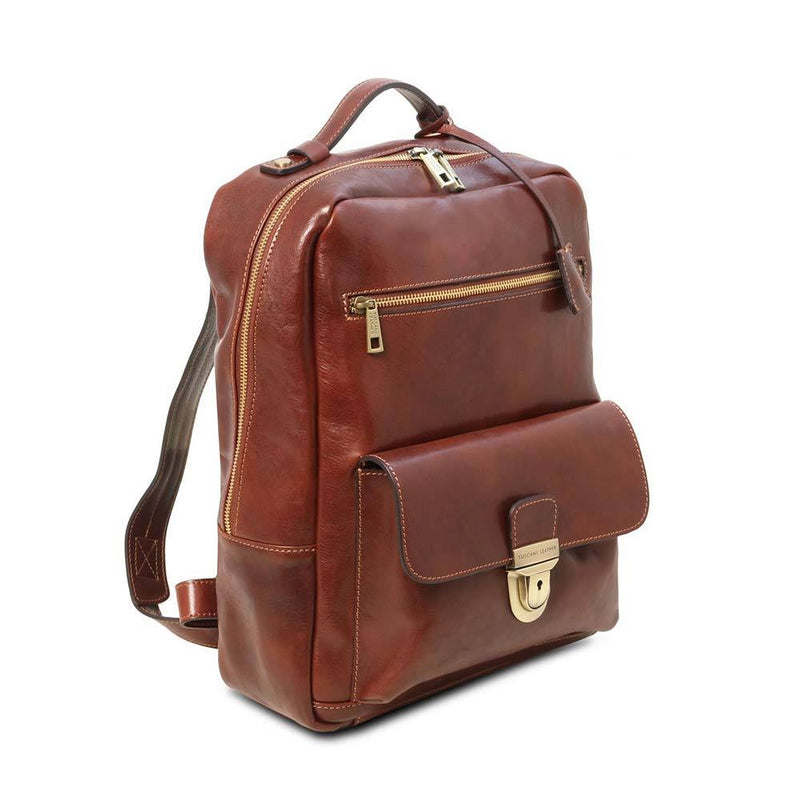 Kyoto Leather Laptop Backpack Leather Backpack TUSCANY LEATHER
