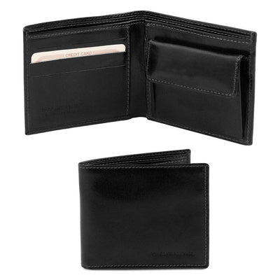 Exclusive 2 fold Leather Wallet Leather Wallet TUSCANY LEATHER Black