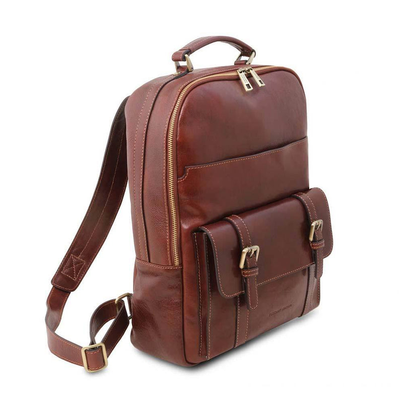 Nagoya Leather Laptop Backpack Leather Backpack TUSCANY LEATHER Brown