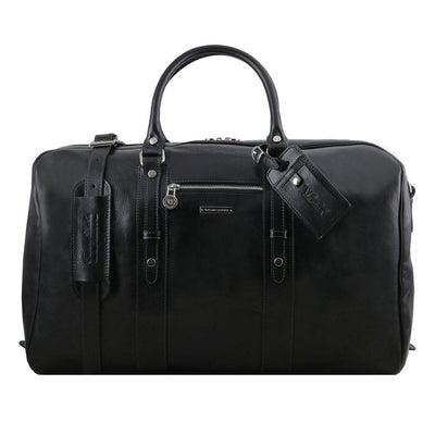 Voyager Leather Travel Bag Leather Duffle Bag TUSCANY LEATHER Black