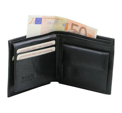 3 Fold Leather Wallet with coin pocket Leather Wallet TUSCANY LEATHER