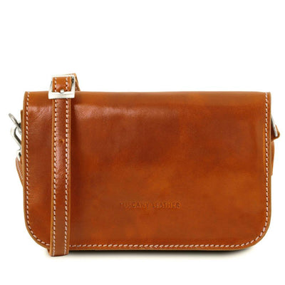 Carmen Leather Shoulder Bag Leather Clutch TUSCANY LEATHER Honey