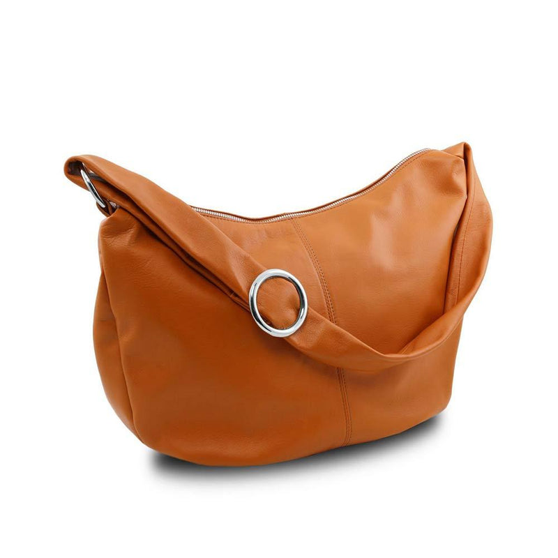 Yvette Hobo Bag Leather Handbag TUSCANY LEATHER Cognac