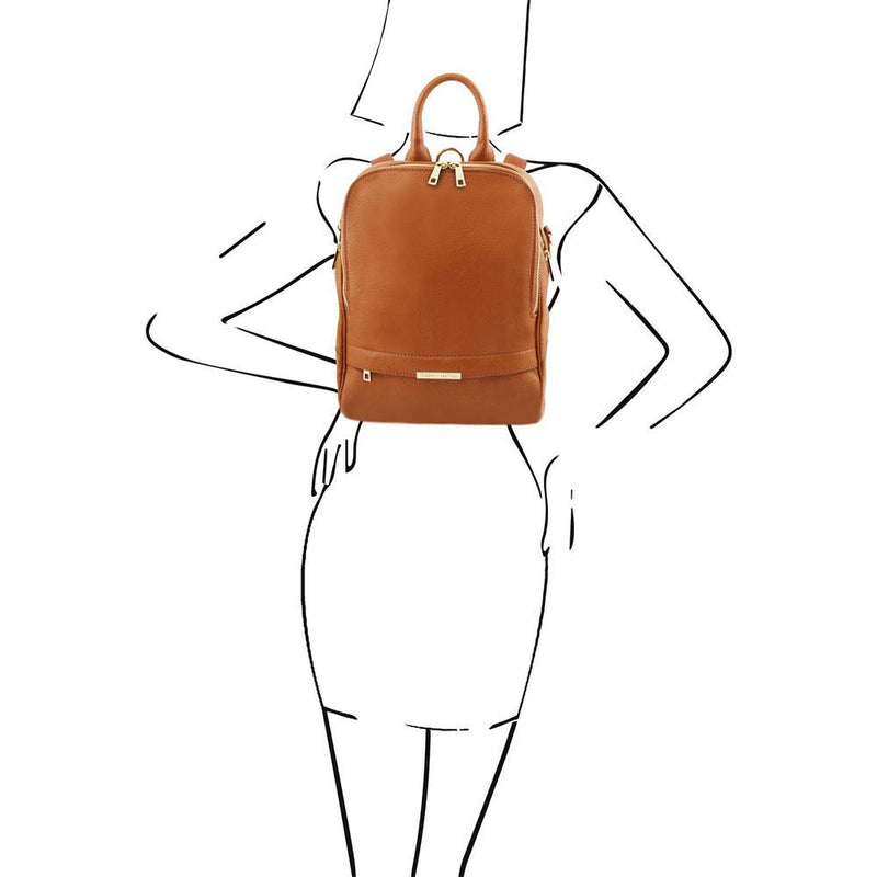 Brown womens leather backpack