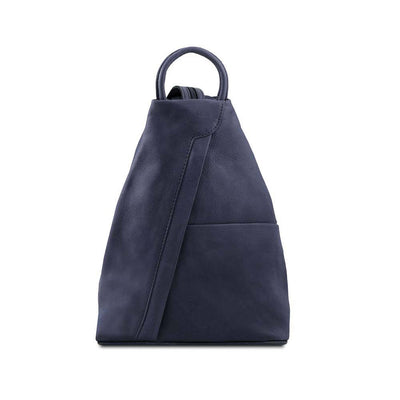 Shanghai Women's Leather Backpack Leather Backpack TUSCANY LEATHER Blue