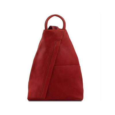 Shanghai Women's Leather Backpack Leather Backpack TUSCANY LEATHER Red