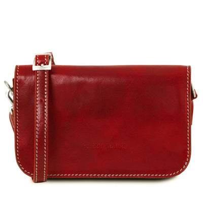 Carmen Leather Shoulder Bag Leather Clutch TUSCANY LEATHER Red