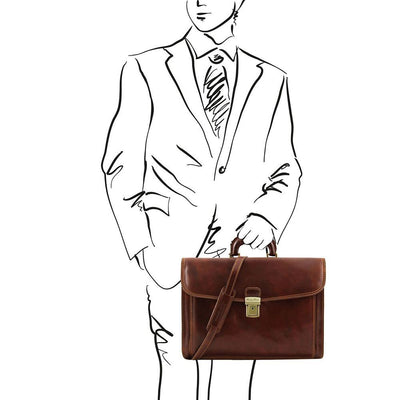 Napoli Briefcase Leather Briefcase TUSCANY LEATHER