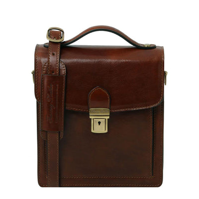 David Crossbody Leather Bag Leather Shoulder Bag TUSCANY LEATHER Small Brown