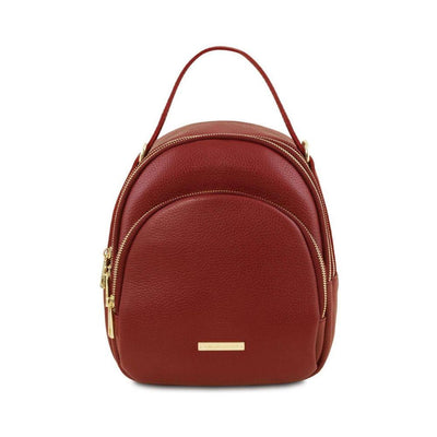 TL Convertible Mini Backpack Leather Backpack TUSCANY LEATHER Red