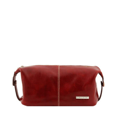 Roxy Toiletry Bag Leather Toiletry Bag TUSCANY LEATHER Red