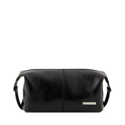 Roxy Toiletry Bag Leather Toiletry Bag TUSCANY LEATHER Black