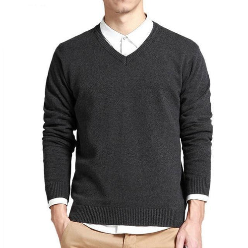 Long Sleeve Pullover V-Neck Knit Sweater
