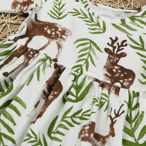 Toddler Short Sleeve Floral Deer Dresses