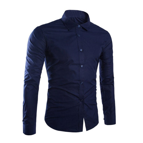 Men's Long Sleeve Solid Color Easy-care Anti Crease