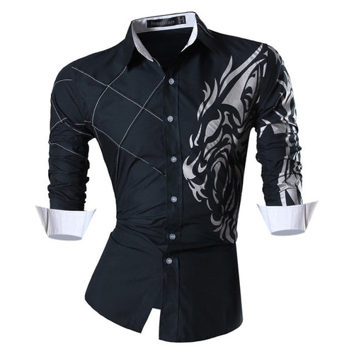 Men's Casual Jeans Shirt Long Sleeve Casual Slim Fit