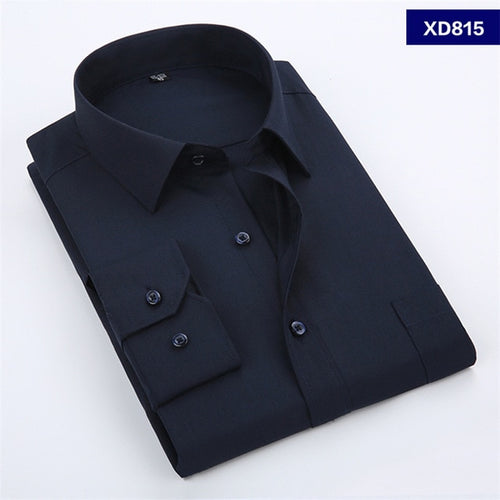 Men's Dress Shirt Solid Color Chemise Homme Casual Long Sleeved Shirt
