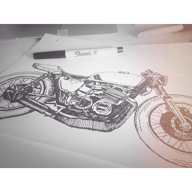 ink drawing cafe racer