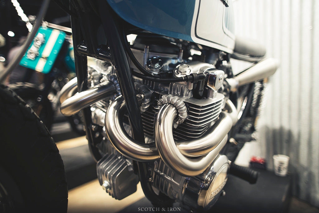 honda cb550 scrambler by J. Webster Designs stainless exhaust