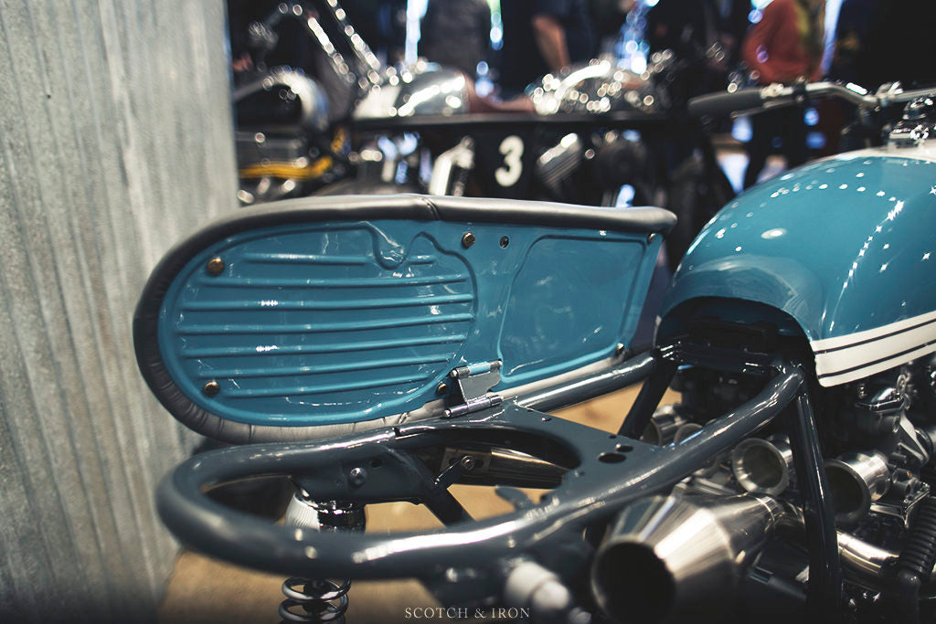 honda cb550 scrambler by J. Webster Designs flip up seat pan