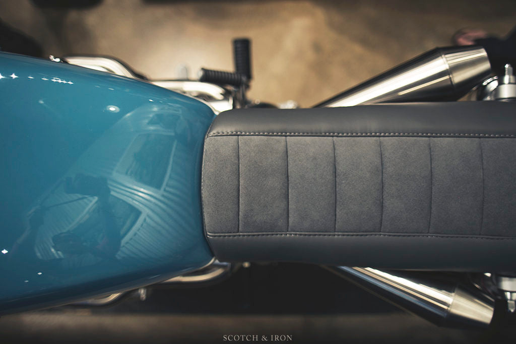 honda cb550 scrambler by J. Webster Designs leather and suede seat