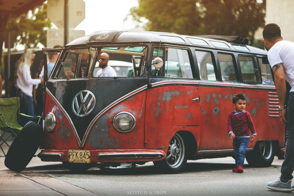 patina risted vw bus red miami