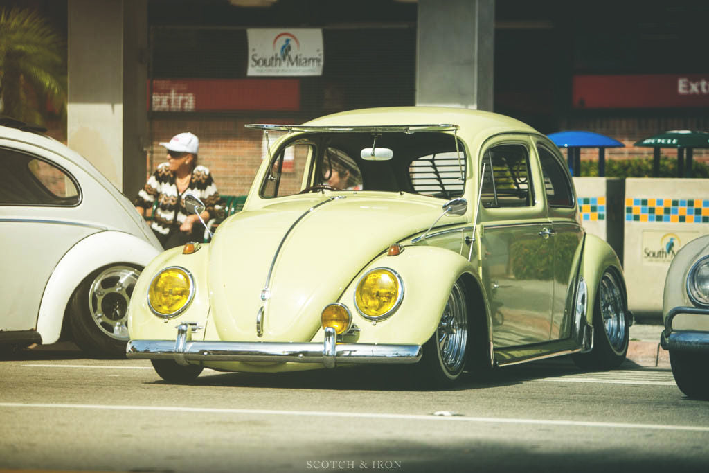 lowered yellow vw beetle vinatge miami